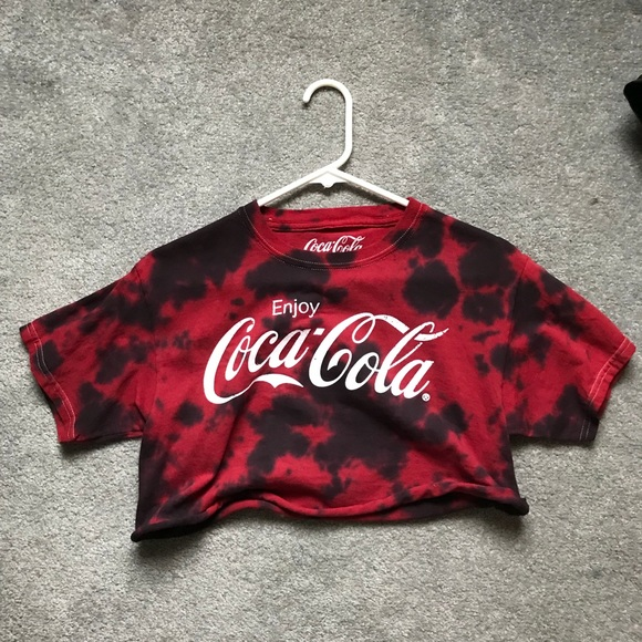 6076165a4d Tops | Red And Black Tie Dye Coca Cola Crop Top Size Med | Poshmark